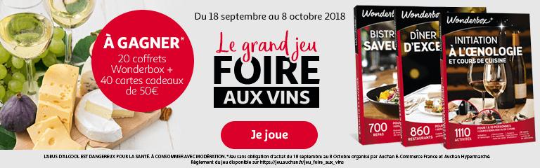 Du 18 septembre au 8 octobre 2018 : Grand Jeu Foire aux vins
