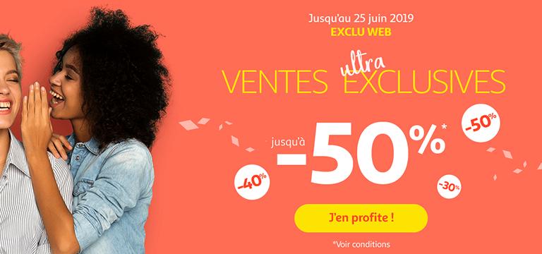 Jusqu'au 25 juin 2019, ventes ultra exclusives sur le site - jusqu'à -50% sur une sélection