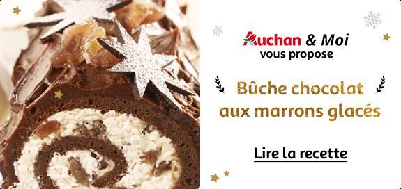 Auchan & Moi : bûche chocolat aux marrons glacés