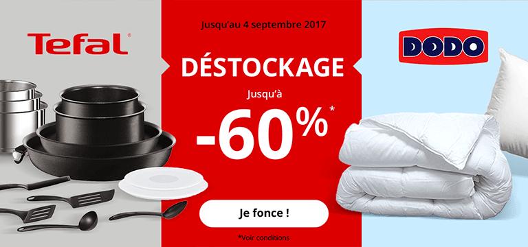 Jusqu'au 4 septembre 2017 : déstockage jusqu'à -60%