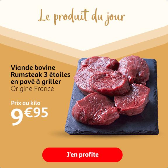 Viande bovine Rumsteak 3 étoiles origine France, à griller