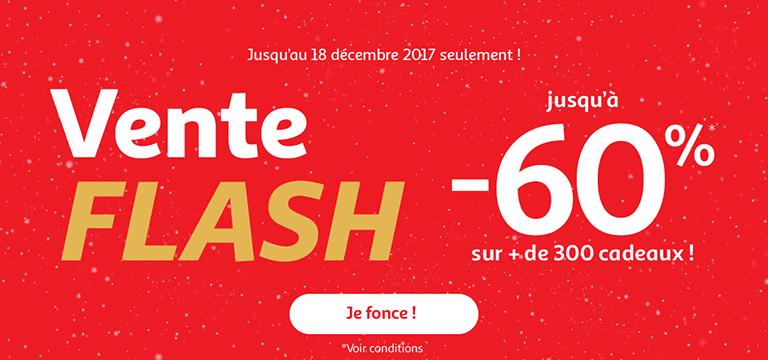 Jusqu'au 18 décembre : vente flash spécial Noël jusqu'à -60%