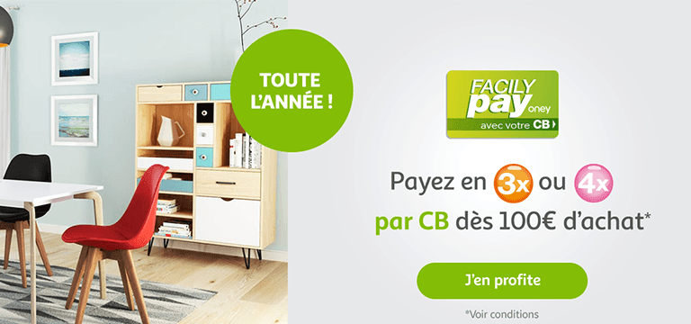 Payez en 3 ou 4 fois par CB dès 100€ d'achat avec Facilypay