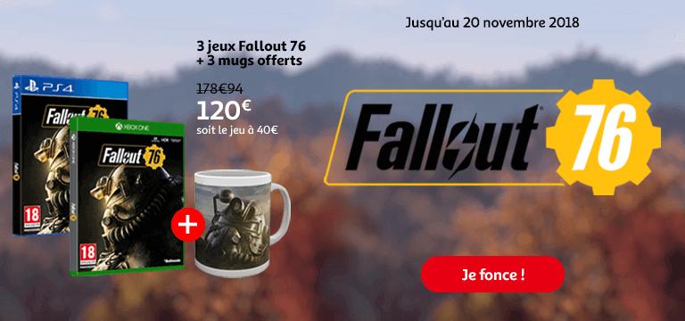 Jusqu'au 20 novembre 2018: 3 jeux Fallout 76 + 3 mugs offerts à 120€ au lieu de 178,94, soit le jeu à 40€