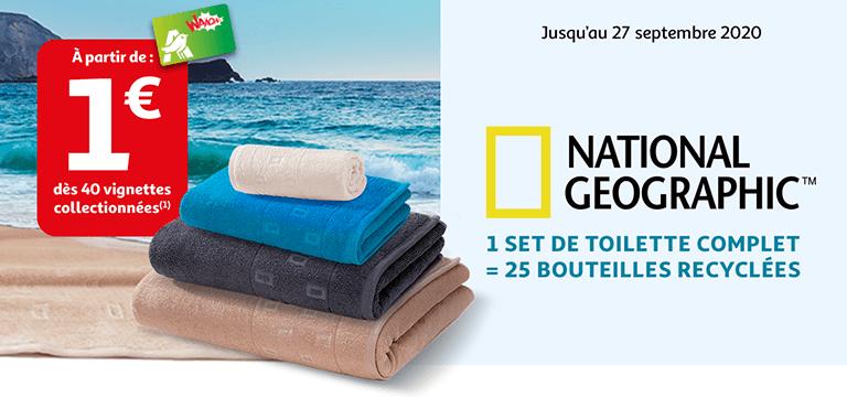 Jusqu'au 27 septembre 2020, avec National Geographic, 1 set de toilette complet = 25 bouteilles recyclées