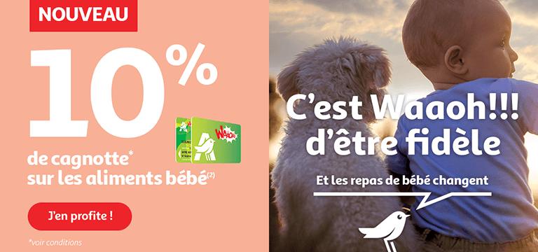 -10% de cagnotte Waaoh sur les aliments bébé