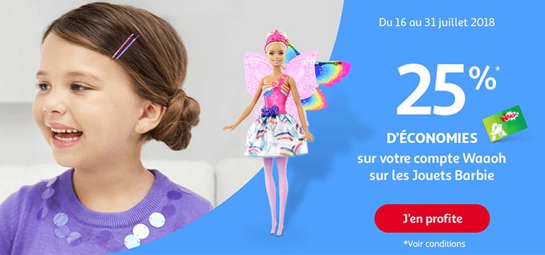 Du 16 au 31 juillet 2018, 25% d'économies avec votre carte sur Barbie