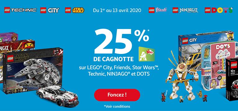 Du 1er au 13 avril : 25% de cagnotte WAAOH* sur LEGO® City, Friends, Star Wars™, Technic, NINJAGO® et DOTS