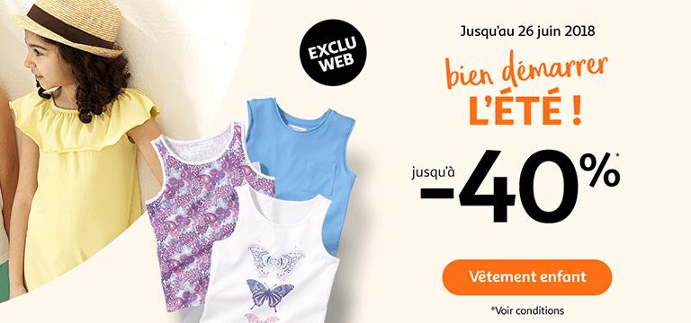 Jusqu'au 26 juin, bien démarrer l'été jusqu'à -40% sur vêtement enfant