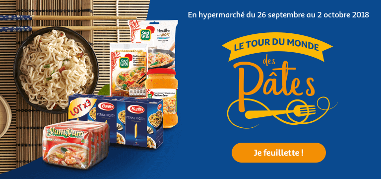 En hypermarché du 26 septembre 2018 au 2 octobre : le tour du monde des pâtes