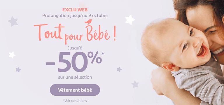 Jusqu'au 09 octobre en exclu web : Tout pour bébé - jusqu'à -50% sur une sélection*