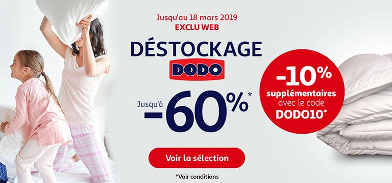 Jusqu'au 18 mars 2019: déstockage Dodo en exclu web, jusqu'à -60%