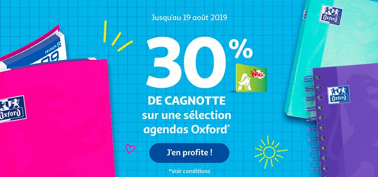 Jusqu'au 19 aout 2019 - -30% sur une sélection agendas Oxford*