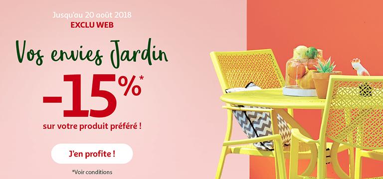 Jusqu'au 20 août, exclu web vos envies de jardin -15% sur votre produit préféré