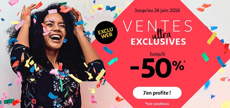 Jusqu'au 26 juin 2018, ce sont les ventes ultra exclusives jusqu'à -50%