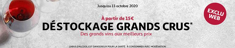 Déstockage Grands crus*, jusqu'au 13 octobre 2020
