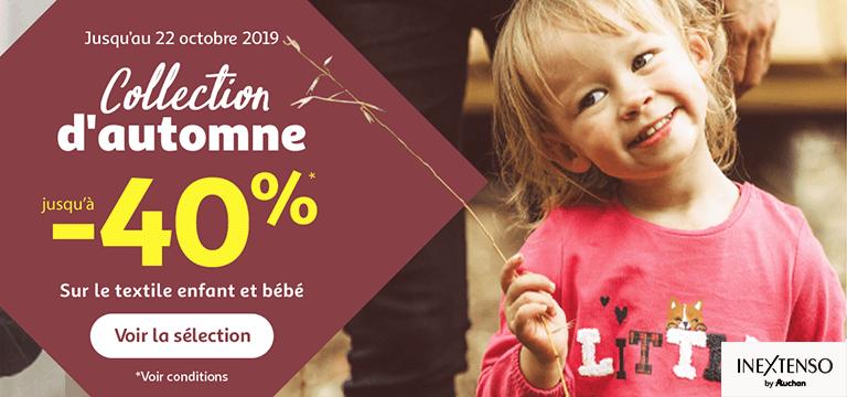 Collection d'automne jusqu'à -40% sur le texile enfant et bébé