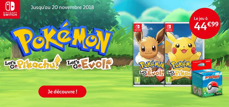 Pokemon Let's Go Pikatchu et Evoli à partir de 44.99€
