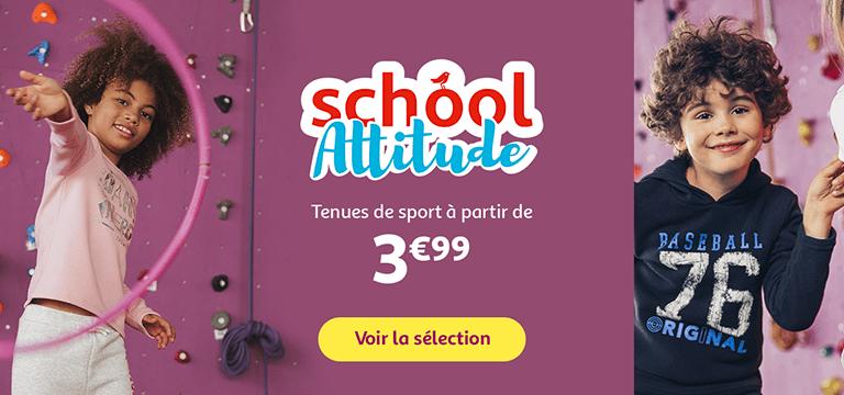 School attitude : tenues de sport à partir de 3€99