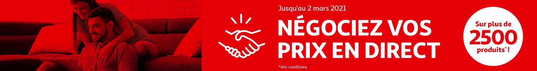 Jusqu'au 2 mars 2021, négociez vos pris en direct sur plus de 2500 produits !