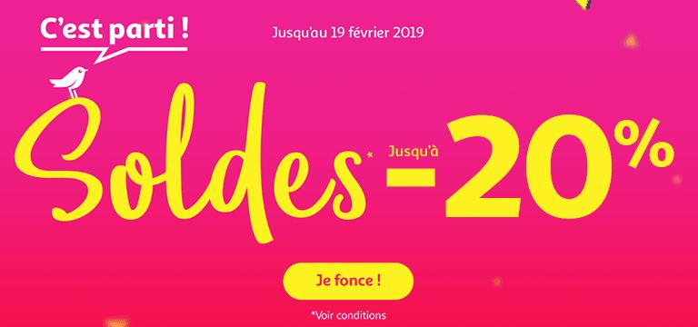 Du 09 janvier au 19 février 2019 : Soldes jusqu'à -20%