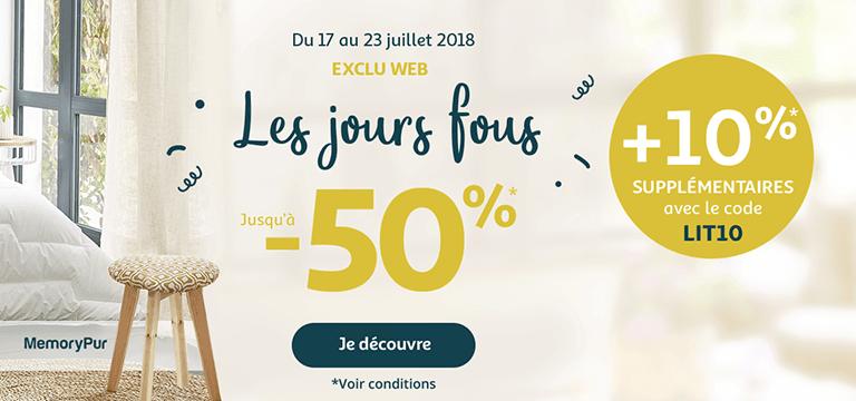 Du 17 au 23 juillet, exclu web les jours fous jusqu'à -50% + 10% supplémentaires avec code LIT10