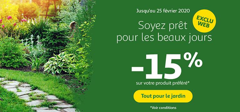 Tout pour le jardin jusqu'au 25 février 2020, soyez prêt pour les beaux jours, -15% sur votre produit préféré