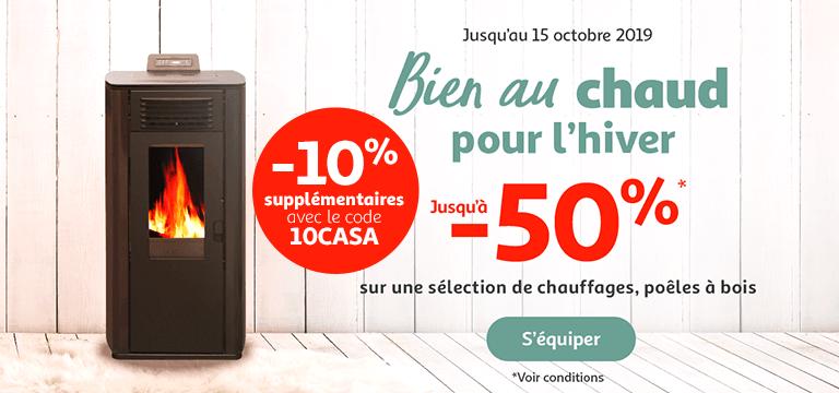 Bien au chaud, jusqu'à -50% sur une sélection de chauffages et -10% supplémentaire avec le code 10CASA jusqu'au 15 octobre 2019