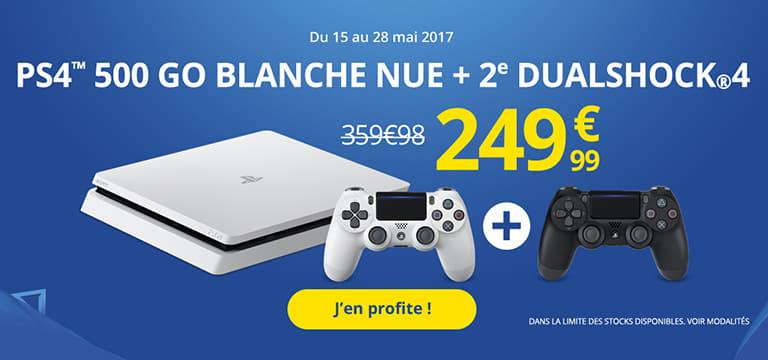 Du 15 au 28 mai 2017 : PS4 500Go blanche nue + 2ème Dualshock4 à 249€99