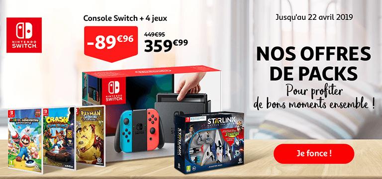 Jusqu'au 22 avril 2019 : Console Switch + 4 jeux à 359,99€ au lieu de 449,95€