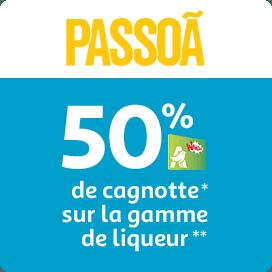 50% de cagnotte Waooh sur la gamme de liqueur Passoa
