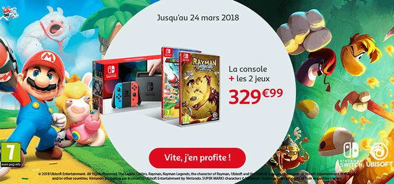 Jusqu'au 19 mars : Nintendo Switch + 2 jeux Mario et les lapins crétins et Rayman Legends, the character of Rayman à 329,99€
