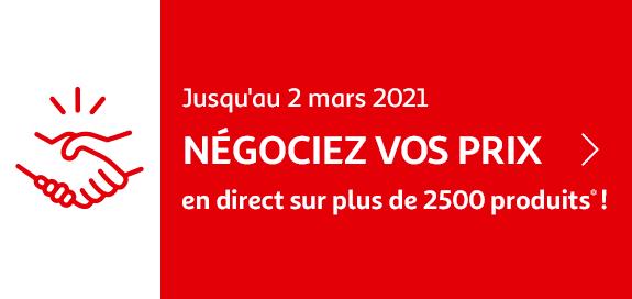 Négociez vos prix en direct sur plus de 2500 produits ! Jusqu'au 2 mars 2021
