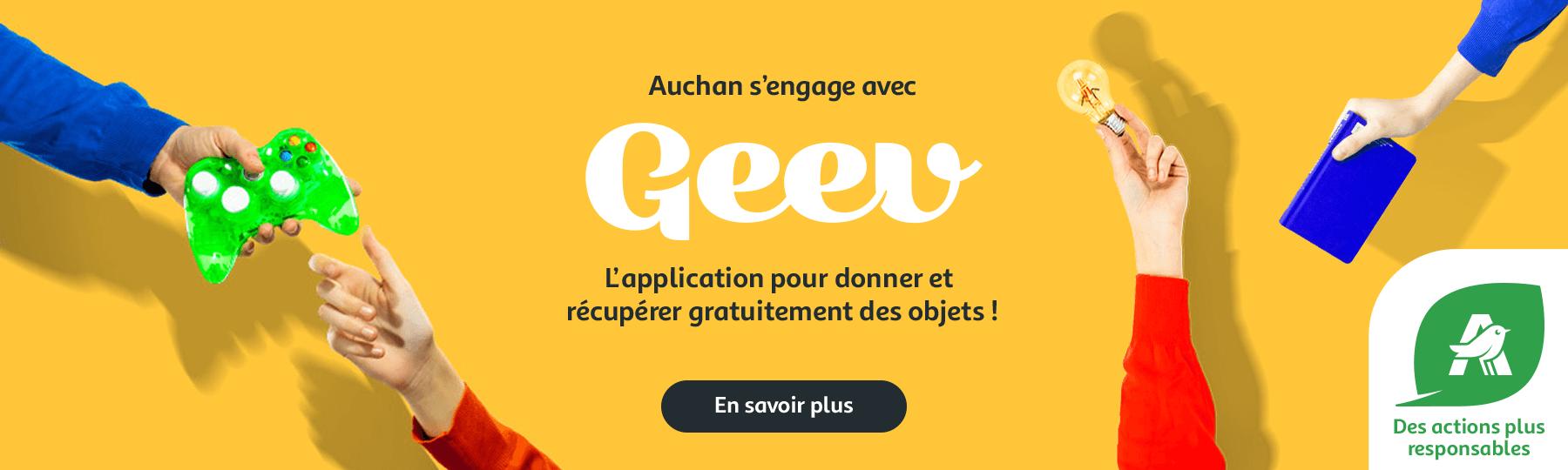 Auchan s'engage avec Geev, l'application pour donner et récupérer gratuitement des objets.