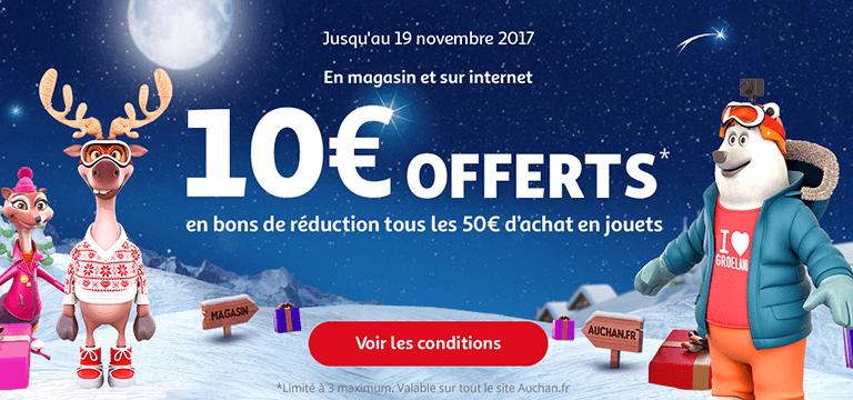 Jusqu'au 19 novembre 2017 : 10e offerts en bons de réduction tous les 50€ d'achat en jouets en magasin et sur internet
