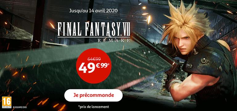Jusqu'au 14 avril 2020, Final Fantasy 7 Remake à 49€99 au lieu de 64€99