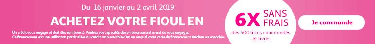 Du 16 janvier au 02 avril 2019 : payez votre fioul en 6 fois sans frais