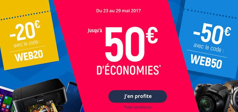 Du 23 au 29 mai 2017 : promocash jusqu'à 50€ d'économies