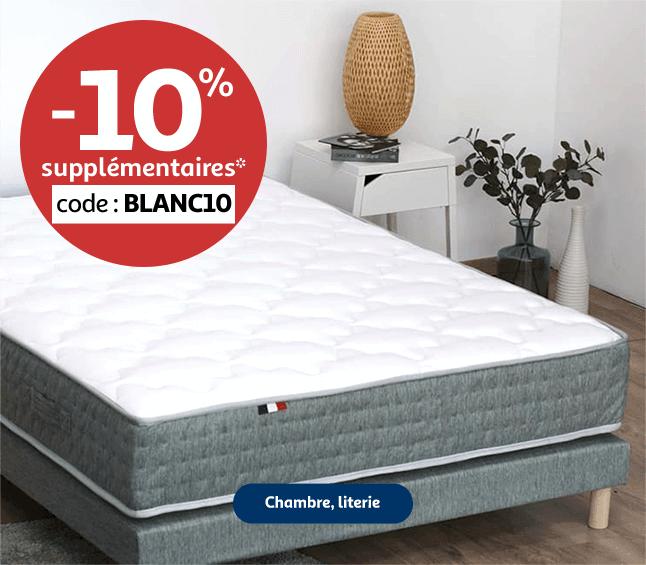 10% supplémentaires sur la chambre et la literie code BLANC10