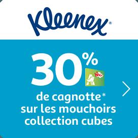 30% de cagnotte sur les mouchoirs cubes Kleenex