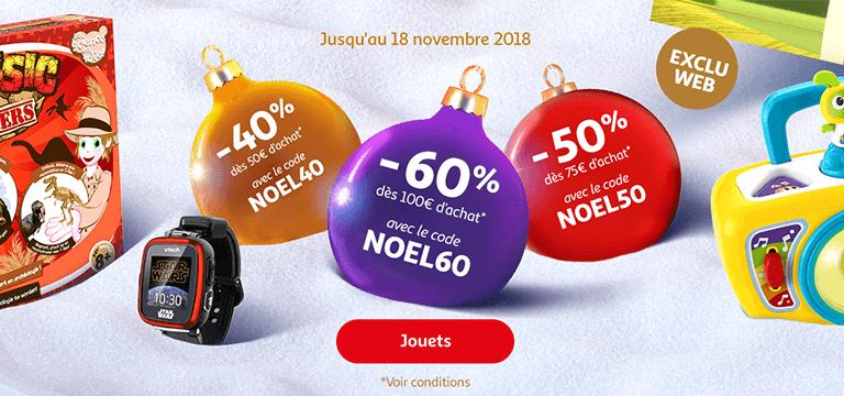 Jusqu'au 18 novembre :-40% dès 50€ d'achat avec le code NOEL40; -50% dès 75€ d'achat avec le code NOEL50; -60% dès 100€ d'achat avec le code NOEL60