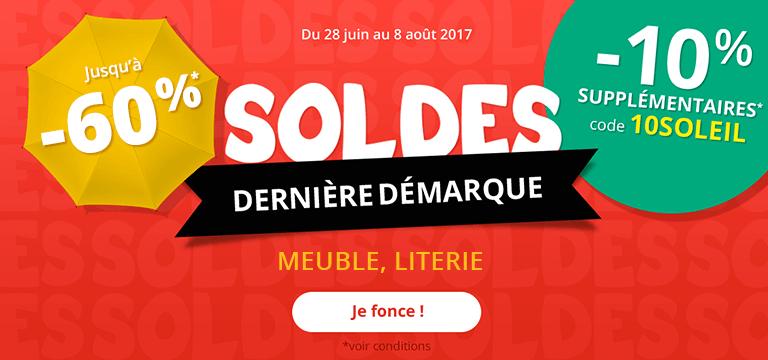 Du 25 au 31 Juillet : Soldes Meuble jusqu'à -60% et -10% supplémentaires code 10SOLEIL