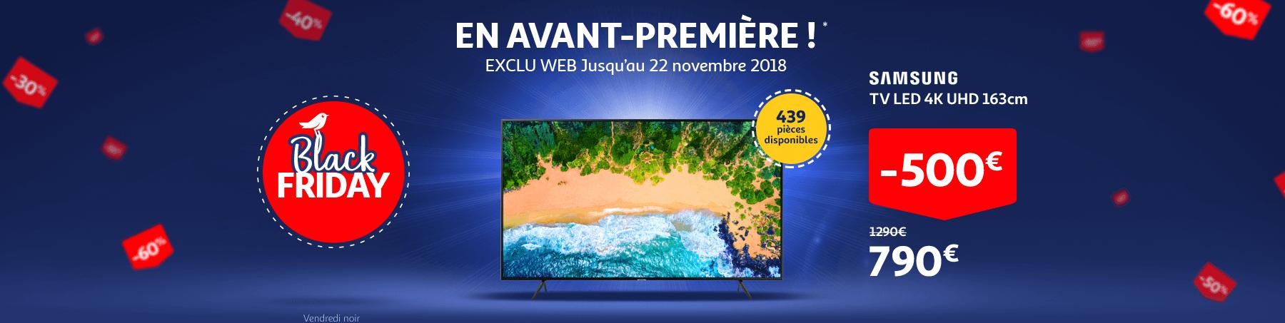 Black Friday en avant-première jusqu'au 22 novembre. SAMSUNG TV LED 4K UHD 163 cm.
