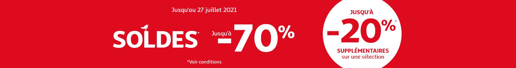 Soldes derniers jours ! jusqu'à -70% jusqu'au 27 juiller 2021 et jusqu'à -20% supplémentaires sur une sélection