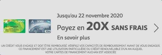 Payez en 20 fois sans frais jusqu'au 22 novembre 2020