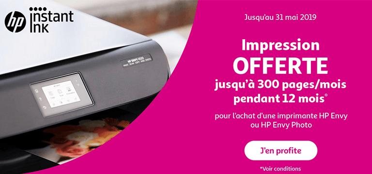 Jusqu'au 31 mai 2019 : Imprimez gratuitement  jusqu'à 300 pages/mois pendant 12 mois*