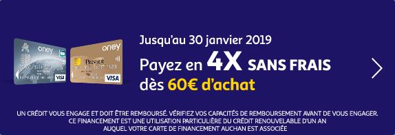 Jusqu'au 30 janvier 2019, payez en 4X SF dès 60€ d'achat