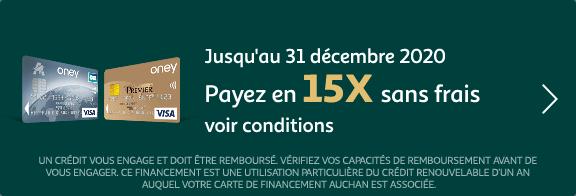 Payez en 15X sans frais jusqu'au 31 décembre 2020