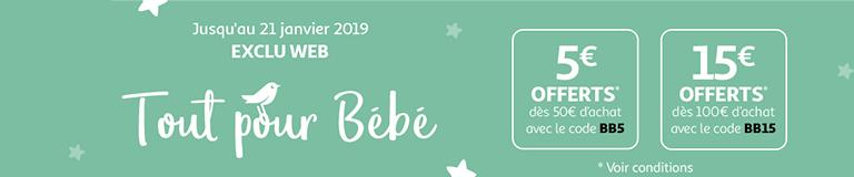 Exclu web : Tout pour Bébé !  Jusqu'à 15€ offerts dès 100€ d'achat jusqu'au 21 janvier 2019*