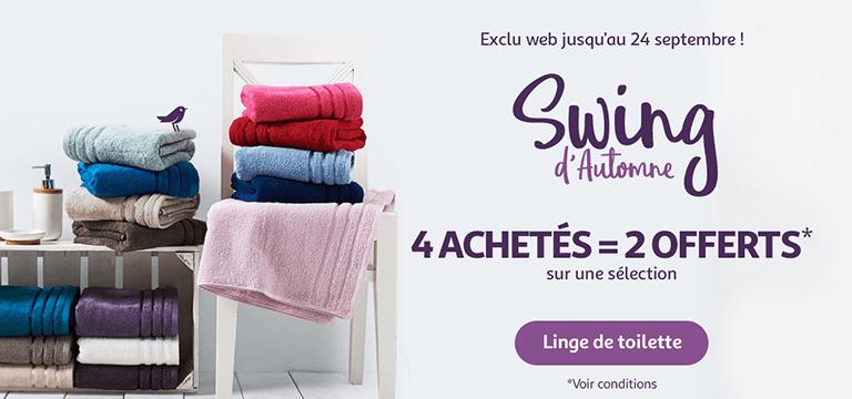 Jusqu'au 24 septembre seulement : Swing d'automne exclu web. 4 articles linge de toilette achetés = 2 offerts *